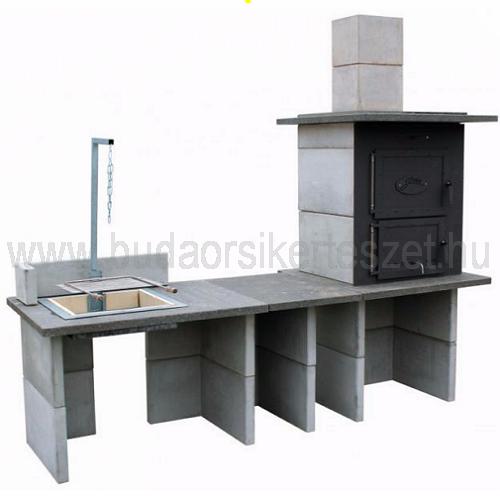 minimál kerti konyha grill+kis asztal+kemence